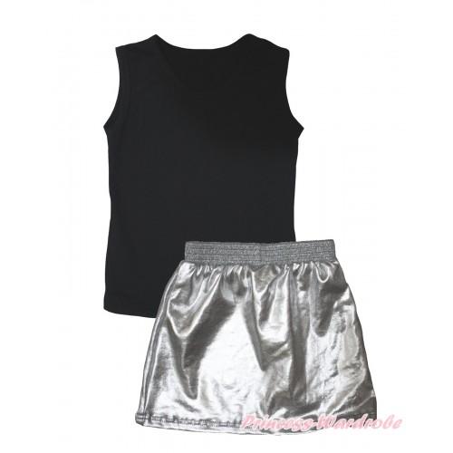 Black Tank Top & Silver Grey Girls Skirt Set MG2461