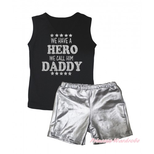Black Tank Top Sparkle We Have A Hero We Call Him Daddy Painting & Silver Grey Girls Pantie Set MG2465