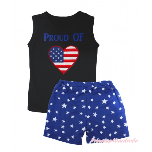 American's Birthday Black Tank Top PROUD OF American Heart Painting & Royal Blue White Star Girls Pantie Set MG2468