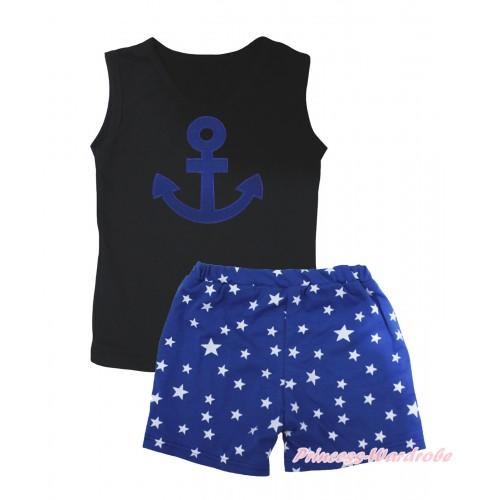 Black Tank Top Royal Blue Anchor Print & Royal Blue White Star Girls Pantie Set MG2471