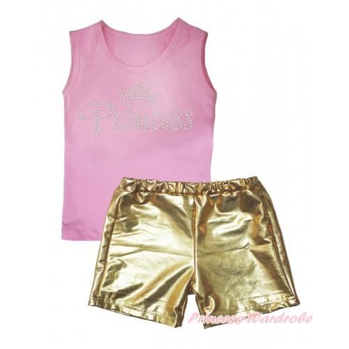 Light Pink Tank Top Sparkle Rhinestone Princess Print & Gold Girls Pantie Set MG2475