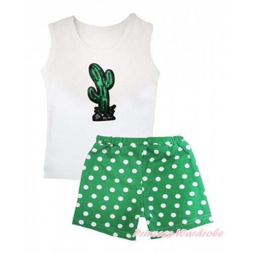 Cinco De Mayo White Tank Top Sparkle Sequins Cactus Print & Kelly Green White Dots Girls Pantie Set MG2509
