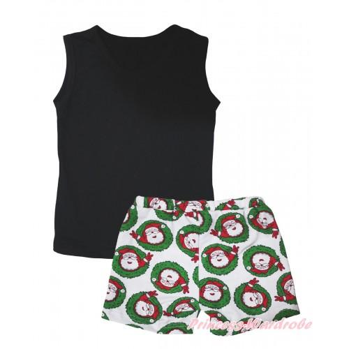 Black Tank Top & Xmas Santa Claus Girls Pantie Set MG2517