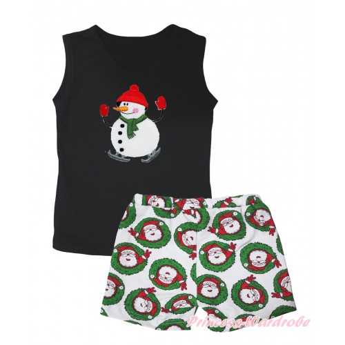 Christmas Black Tank Top Ice-Skating Snowman Print & Xmas Santa Claus Girls Pantie Set MG2519
