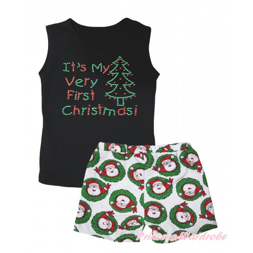 Christmas Black Tank Top Sparkle Rhinestone It's My Very First Christmas Print & Xmas Santa Claus Girls Pantie Set MG2522