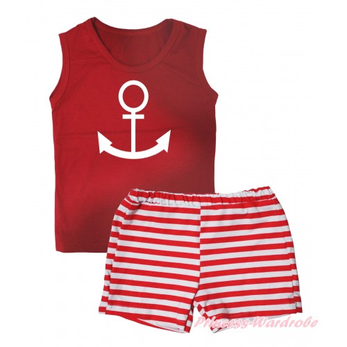 Red Tank Top White Anchor Painting & Red White Striped Girls Pantie Set MG2534