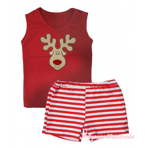 Christmas Red Tank Top Christmas Reindeer Print & Red White Striped Girls Pantie Set MG2535