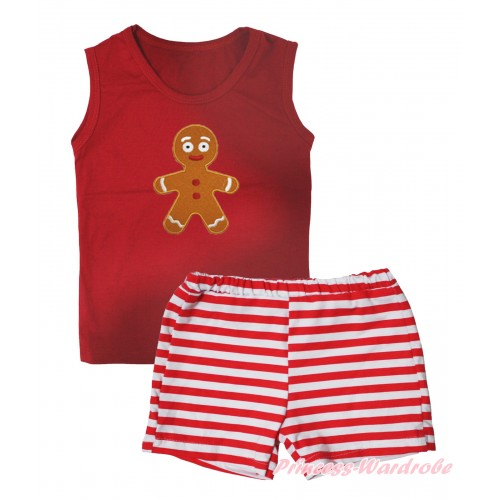Christmas Red Tank Top Brown Gingerbread Print & Red White Striped Girls Pantie Set MG2536