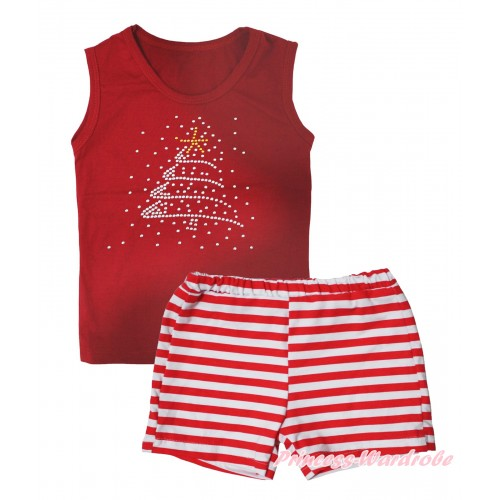 Christmas Red Tank Top Rhinestone Christmas Tree Print & Red White Striped Girls Pantie Set MG2538