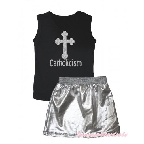 Black Tank Top Sparkle Cross Catholicism Painting & Silver Grey Girls Skirt Set MG2540