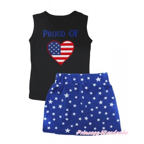 American's Birthday Black Tank Top PROUD OF American Heart Painting & Royal Blue White Star Girls Skirt Set MG2544