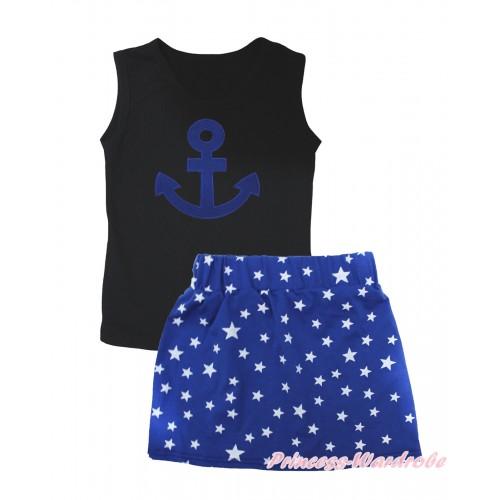 Black Tank Top Royal Blue Anchor Print & Royal Blue White Star Girls Skirt Set MG2547