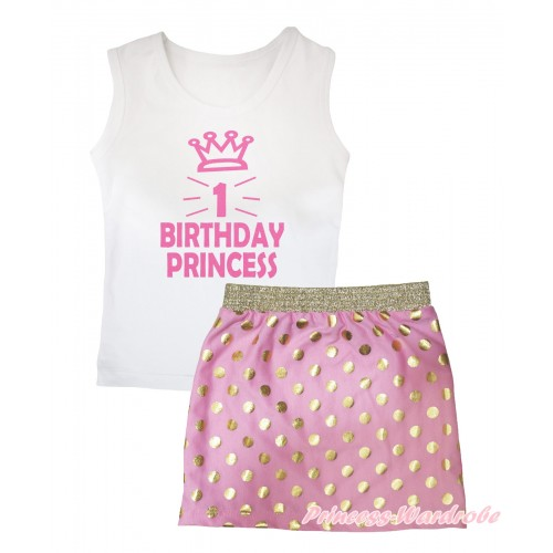 White Tank Top 1st Birthday Princess Crown Painting & Light Pink Gold Dots Girls Skirt Set MG2566