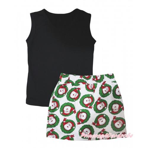 Black Tank Top & Xmas Santa Claus Girls Skirt Set MG2593