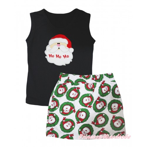 Christmas Black Tank Top Santa Claus Print & Xmas Santa Claus Girls Skirt Set MG2594