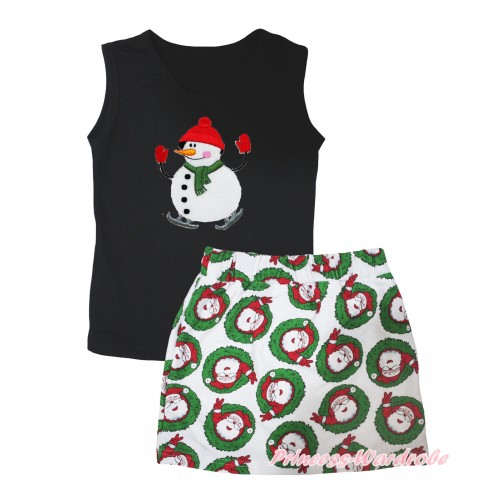 Christmas Black Tank Top Ice-Skating Snowman Print & Xmas Santa Claus Girls Skirt Set MG2595
