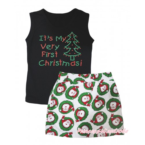 Christmas Black Tank Top Sparkle Rhinestone It's My Very First Christmas Print & Xmas Santa Claus Girls Skirt Set MG2598