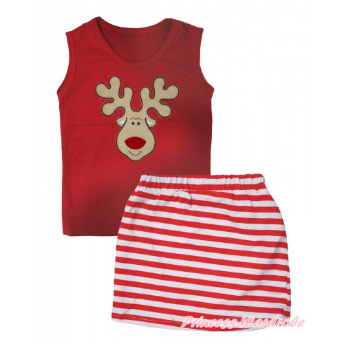 Christmas Red Tank Top Christmas Reindeer Print & Red White Striped Girls Skirt Set MG2611