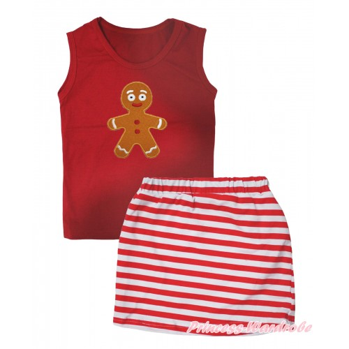 Christmas Red Tank Top Brown Gingerbread Print & Red White Striped Girls Skirt Set MG2612