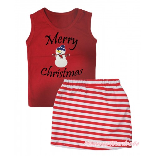 Christmas Red Tank Top Merry Christmas Painting & Big Nose Snowman Print & Red White Striped Girls Skirt Set MG2613