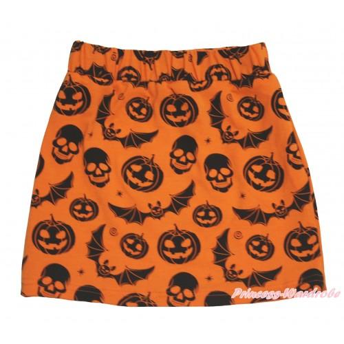 Halloween Orange Pumpkin Bat Skeleton Girls Cotton Skirt P273