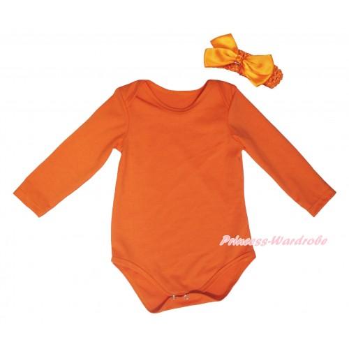 Orange Baby Jumpsuit & Orange Headband Bow TH772