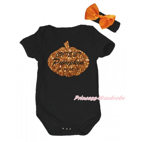 Halloween Black Baby Jumpsuit & Sparkle Cutest Pumpkin In The Patch Painting & Black Headband Orange Bow TH775