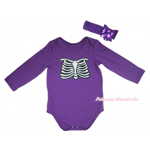 Halloween Dark Purple Baby Jumpsuit & Skeleton Rib Print & Dark Purple Headband Sparkle Sequins Bow TH780
