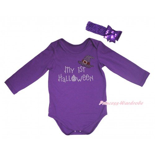 Halloween Dark Purple Baby Jumpsuit & Sparkle Hat Rhinestone My 1st Halloween Print & Dark Purple Headband Sparkle Sequins Bow TH781