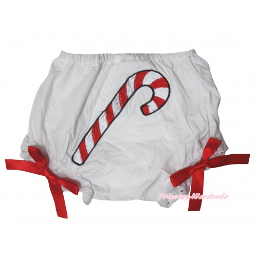 Christmas Stick Print White Panties Bloomers With Red Bow BC206