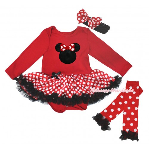 Red Long Sleeve Baby Bodysuit Jumpsuit Minnie Dots Black Pettiskirt & Minnie Print & Warmers Leggings JS5721