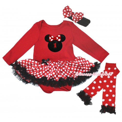Red Long Sleeve Baby Bodysuit Jumpsuit Minnie Dots Black Pettiskirt & 1st Birthday Number Minnie Print & Warmers Leggings JS5722