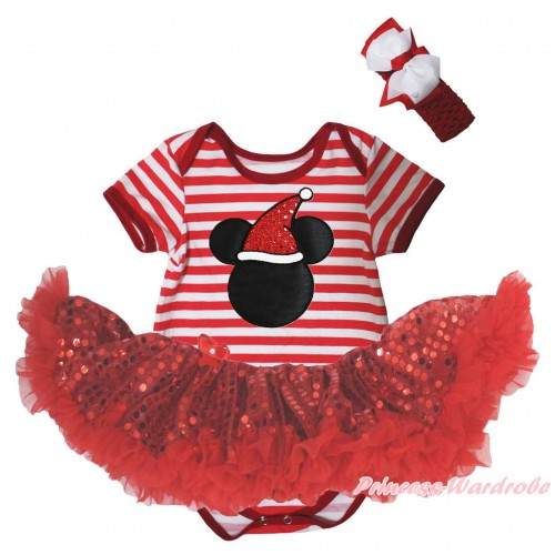Christmas Red White Striped Baby Bodysuit Red Sequins Pettiskirt & Christmas Minnie Print JS5733