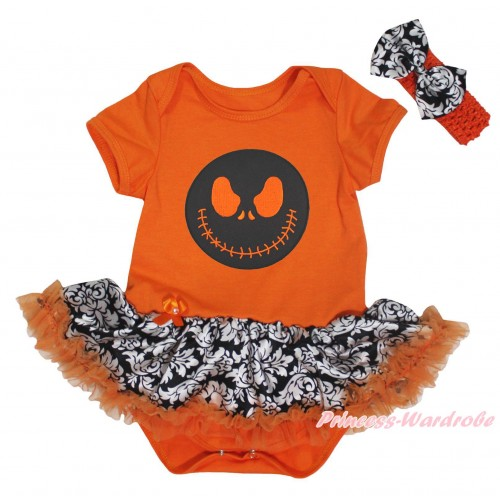 Halloween Orange Baby Bodysuit Orange Damask Pettiskirt & Jack Print JS5749
