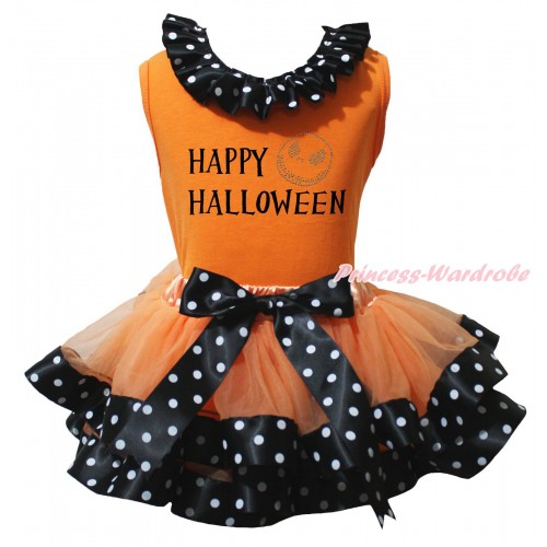 Halloween Orange Pettitop Black White Dots Lacing & Happy Halloween Painting & Jack Print & Orange Black White Dots Trimmed Pettiskirt MG2398