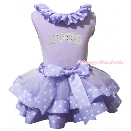 Lavender Pettitop Lavender White Dots Lacing & Sparkle White LOVE Print & Lavender White Dots Trimmed Pettiskirt MG2445