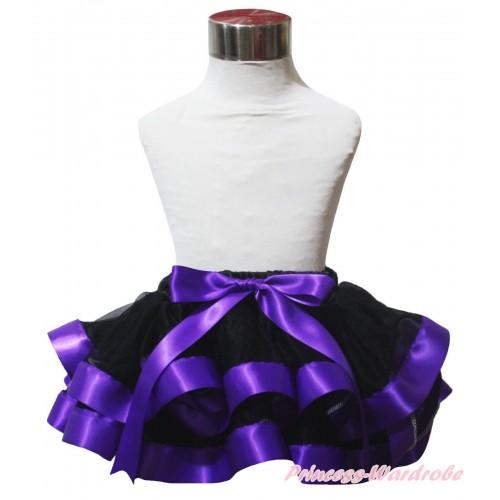 Black Dark Purple Trimmed Newborn Baby Pettiskirt & Bow N317