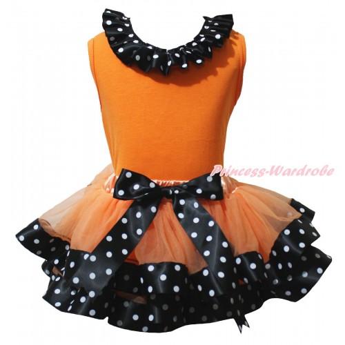 Orange Baby Pettitop Black White Dots Lacing & Orange Black White Dots Trimmed Newborn Pettiskirt NG2202