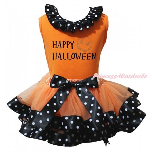 Halloween Orange Baby Pettitop Black White Dots Lacing & Happy Halloween Painting & Jack Print & Orange Black White Dots Trimmed Newborn Pettiskirt NG2204