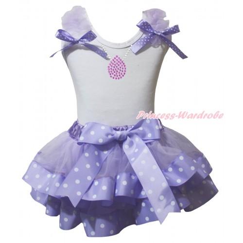 White Baby Pettitop Lavender Ruffles Lavender White Dots Bow & Sparkle Rhinestone Necklace Print & Lavender White Dots Trimmed Newborn Pettiskirt NG2221