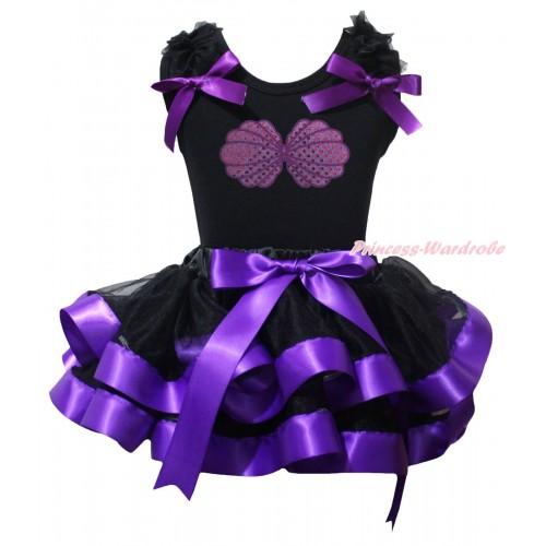 Black Baby Pettitop Black Ruffles Dark Purple Bow & Mermaid Sea Shell Bra & Black Dark Purple Trimmed Newborn Pettiskirt NG2244