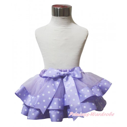 Lavender White Dots Trimmed Full Pettiskirt & Bow P270