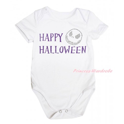 Halloween White Baby Jumpsuit & Happy Halloween Painting & Jack Print TH758