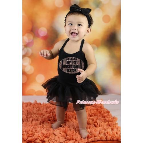 Black Baby Halter Jumpsuit & Sparkle My 1st Rugby Ball Season Painting & Black Pettiskirt JS5885