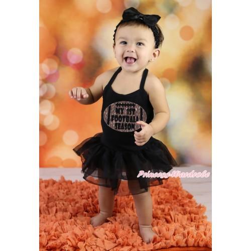 Black Baby Halter Jumpsuit & Sparkle My 1st Football Season Painting & Black Pettiskirt JS588