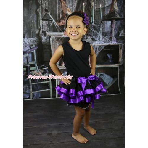 Black Baby Pettitop & Black Dark Purple Trimmed Newborn Pettiskirt NG2249