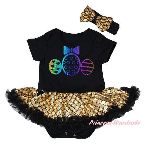 Easter Black Baby Jumpsuit Gold Scale Pettiskirt & Sparkle Rainbow Easter Egg Painting JS6544