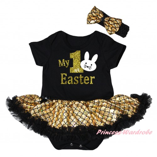 Easter Black Baby Jumpsuit Gold Scale Pettiskirt & Gold My 1st Easter White Bunny Painting JS6546