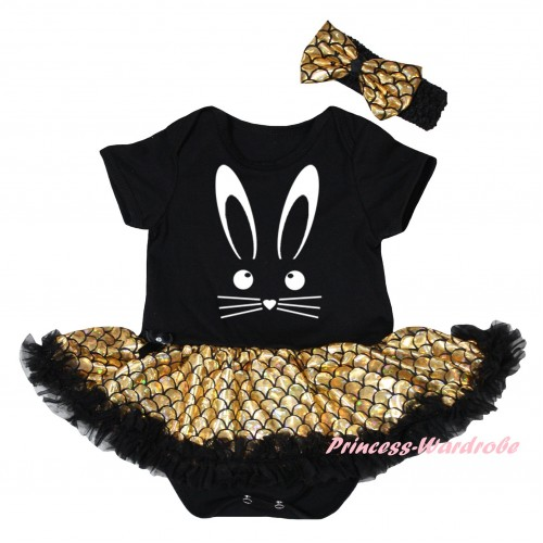 Easter Black Baby Jumpsuit Gold Scale Pettiskirt & White Easter Bunny Face Painting JS6548