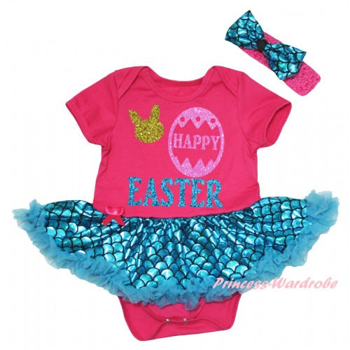 Easter Hot Pink Baby Jumpsuit Blue Scale Pettiskirt & Sparkle Happy Easter Painting JS6551